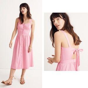 NWT Madewell Pink Fleur Bow-Back Midi Dress 0
